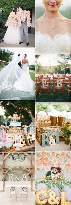 Initials and Monograms Unique Wedding Decor Ideas / http://www.deerpearlflowers.com/35-pretty-monograms-initials-wedding-ideas-for-your-big-day/