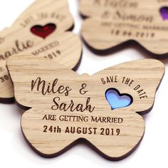 Want a wooden save the date to match your butterfly wedding theme? These butterfly heart wedding magnets give the perfect rustic look with the options of coloured hearts, engraved motif or heart shaped hole. Creative Wedding Favors, Inexpensive Wedding Favors, Wedding Favors For Guests, Wedding Save The Dates, Wedding Themes, Wedding Cards, Wedding Gifts, Wedding Reception, Wedding Ideas