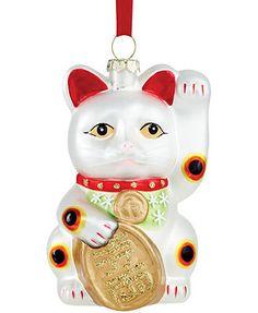 Holiday Lane Glass Happy Kitty Ornament