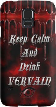 Keep Calm & Drink Vervain Black & Red VD Logo | Snap Cases, Tough Cases, & Skins for iPhones 4s/4 5c/5s/5 6/6Plus & Samsung S3/S4/S5 Galaxy Phones. **All designs available for all models. | Inspired By: The Vampire Diaries