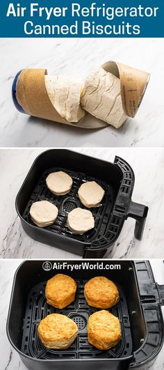 Air Fryer Canned Biscuits or Refrigerated Biscuits Dough   Air Fryer World Air Fryer Oven Recipes, Air Frier Recipes, Air Fryer Dinner Recipes, Air Fryer Cooking Times, Cooks Air Fryer, Biscuit Dough Recipes, Refrigerated Biscuit Recipes, Pilsbury Biscuit Recipes, Canned Biscuits