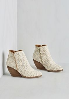 Precious Release Bootie in Ivory. Step out for the day in these lovely lace booties to show youre ready to make an official statement - this stacked-heel pair is your new favorite! Lace Booties, Ankle Booties, Bootie Boots, Wedge Bootie, Vintage Boots, Cute Boots, Pretty Shoes, Sock Shoes, Wedding Shoes