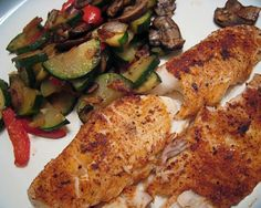 Spicy Tilapia With Mushrooms and Zucchini from Food.com:   								I wanted to add more fish to my diet so one day I bought fresh Tilapia and looked online for an easy recipe to cook that evening because I never buy fresh fish and didn't know the first thing how to cook it. I found a recipe similar but I added my own special touch to it and pretty much changed the original. My husband and I loved it. Here's my version!