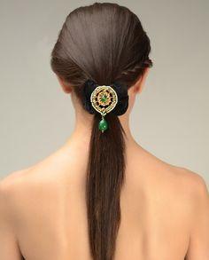 Black Ruffled Hairband with Kundan Brooch  by Just Jewellery
