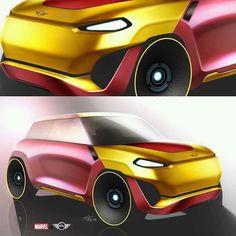 Mini Coper, Car Sketch, Automotive Design, Iron Man, Collaboration, Sketches, Marvel, Bmw, Vehicles