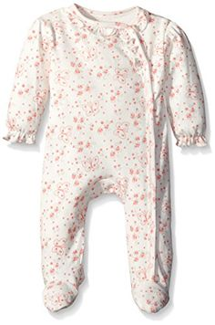 6-9 Months, Pink Bonnie Baby Girls 3M-24M Sparkle Floral Print Cotton Coverall//Romper