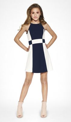 28d9916a5d3 The Peggy Dress - Modern Navy and Ivory color block stretch crepe georgette  dress with button
