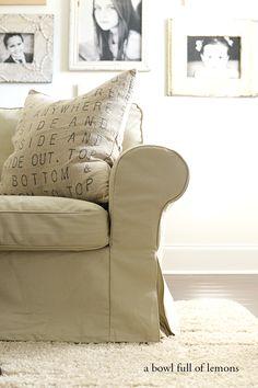 Living Room Organization tips via A Bowl Full of Lemons