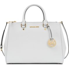 Michael Kors Sutton double zip LG Bag ($247) ❤ liked on Polyvore featuring bags, handbags, purses, white, white handbags, snap bags, pocket bag, michael kors handbags and pocket purse