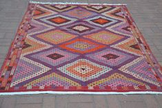 Purple Vintage Rug, Pastel Rug, Turkish Kilim Rug, Tribal Rug, Traditional Rug, Turkish Rug, Wool Rug, Boho Rug, Bohemian Rug, Woven Rug