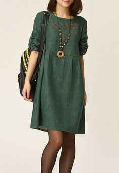 Dress in the green round collar embroidery linen/ by ElegantGens