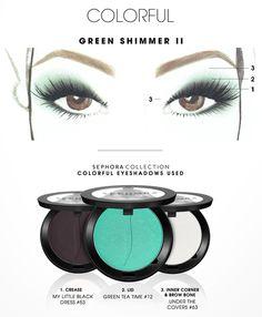 3 steps  - matte black on lid, avoid corners  - blend green into crease  - highlight arch & inner eye corner