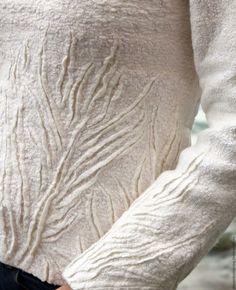 Купить Свитер валяный Морозные узоры - белый, абстрактный, свитер, свитер валяный, белый свитер
