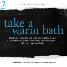 Beat Jet Lag Insomnia with these Beauty Sleep Tips from Philosophy. #2: take a warm bath before bed. #beauty #philosophy