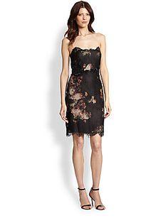 Notte by Marchesa Strapless Floral & Lace Dress
