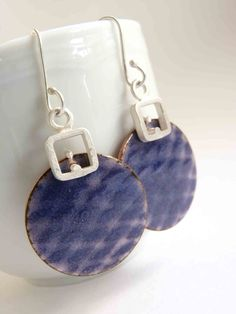 Netting Earrings  Violet enamel  Sterling silver and by aforfebre