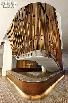 Interior Design Magazine: A trapezoidal opening was carved out between the floors to accommodate the stairs at the Conrad in New York. Interior Design Magazine, Lobby Design, Lobby Interior, Interior Stairs, Commercial Design, Commercial Interiors, Eco Deco, Wc Decoration, Architecture Design