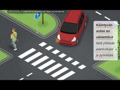Kääntyvän autoilijan on väistettävä niitä kävelijöitä ja pyöräiijöitä, jotka ovat ylittämässä sitä tietä, jolle hän kääntyy. Kärkikolmion suunnasta tuleva au...