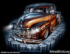 airbrush art | Digital Airbrush Rollin Hard Old Truck - AirbrushArtists.org