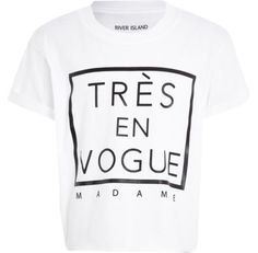 I'm shopping Girls white Tres En Vogue crop t-shirt in the River Island iPhone app.