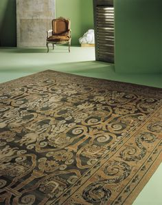 A contemporary room with a Seville Savonnerie Oriental Rug