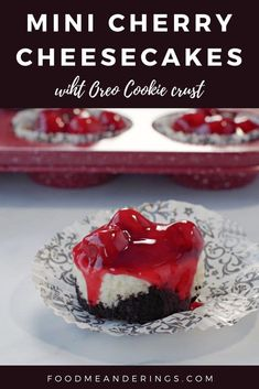 These Easy Mini Cherry Cheesecakes are individual cheesecakes, baked in muffin tins, quick and easy to make, with cherry pie filling and an easy Oreo cookie crust. They are a great party food and the ideal individual dessert and finger food dessert for baby showers, game day, potlucks, Canada Day, Mother's day, New Year's eve or any celebration! Finger Food Desserts, Potluck Desserts, Mini Desserts, Best Dessert Recipes, Easy Desserts, Delicious Desserts, Mini Cherry Cheesecakes, Individual Cheesecakes, Individual Desserts