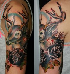 Black Deer Tattoo On Shoulder Black Deer Tattoo On Shoulder Deer Head Tattoo, Head Tattoos, Love Tattoos, Black Tattoos, I Tattoo, Tatoos, Skin Candy, Black Deer, Hunting Art