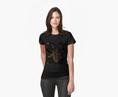 Dark feather t-shirt by Lynn Excell on redbubble. Fashion stylish sepia/black and white photo image womens wear t-shirt. The perfect design to go with anything-especially if you're a goth!