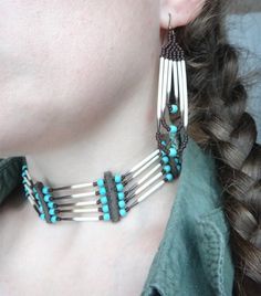 Porcupine quills choker with earrings. Native american necklace Animal Totem…