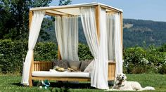 Garden furniture outdoor canopy bed curtains wood