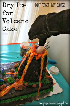 Volcano Cake with Smoke and Lava: A 6-Years-Old Dinosaur Dig and Excavation Pit Puzzle Birthday Party!