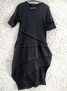53e11b6c674 My black lagenlook tunic from 2 upcycled tshirts Jumpsuit Dress