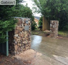 gabion baskets shipped all over the USA Driveway Posts, Driveway Entrance, Entrance Gates, Fence Posts, Entrance Ideas, Gabion Fence, Gabion Wall, Fence Gate, Farm Gate
