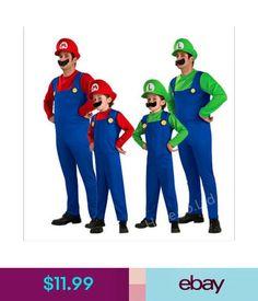 11.99 - Mens Super Mario Luigi Hermanos Cosplay Traje Fontanero De Lujo   ebay  Fashion e9e53075eda