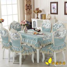 Sıcak Satış mavi kare masa örtüsü sandalye paket sandalye kapak dantel kumaş minder masa ve sandalyeler kapakları yuvarlak seti masa örtüleri