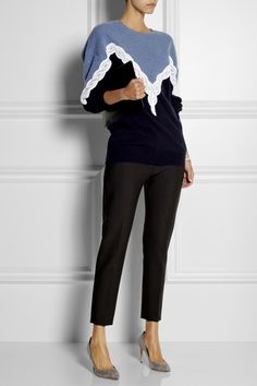 Stella McCartney|Lace-detailed wool sweater|NET-A-PORTER.COM