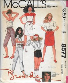 80s Vintage McCall's 8577 Brooke Shield Ladies Skirt Pants Shorts Sewing Pattern