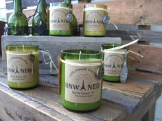 Repurposed Wine Bottle Soy CandleOctober by unwinedmyrtlebeach.  What a good idea!