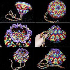 Rainbow macrame pouch!