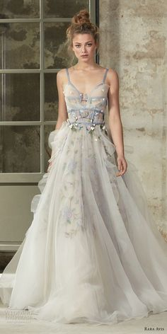 rara avis 2017 bridal sleeveless thin strap sweetheart neckline lightly embellished bodice tulle bodice tulle skirt romantic a line wedding dress open back chapel train mv -- Rara Avis 2017 Wedding Dresses Source by dress wedding 2017 Bridal, Bridal Gowns, Wedding Gowns, 2017 Wedding, Wedding Skirt, Hair Wedding, Trendy Wedding, Ellie Saab, Colored Wedding Dresses