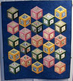 Summer Daydreams by Debra Mastrianni Jaybird Quilts, 3d Quilts, Tumbling Blocks Quilt, Quilt Blocks, Quilt Block Patterns, Pattern Blocks, Optical Illusion Quilts, One Block Wonder, Quilting Designs