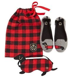 ***** EBAY FUNDRAISING ITEM *****  It's off to snooze city. This gift-worthy sleep set comes with a cozy pair of slippers and a sleep mask, both cheekily adorned with the delightful dachshund, tucked inside a drawstring flannel bag. Follow the link below and remember...this make a great gift too! Please like and share with friends; you never know