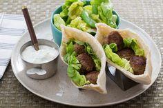 Spiced Turkey Meatball Pitas with Sugar Snap Pea & Bibb Lettuce Salad