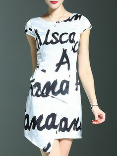 Buy it now. White Letter Print Asymmetric Dress. White Round Neck Short Sleeve Polyester Asymmetrical Short Print Fabric has no stretch Summer Casual Day Dresses. , vestidoinformal, casual, camiseta, playeros, informales, túnica, estilocamiseta, camisola, vestidodealgodón, vestidosdealgodón, verano, informal, playa, playero, capa, capas, vestidobabydoll, camisole, túnica, shift, pleat, pleated, drape, t-shape, daisy, foldedshoulder, summer, loosefit, tunictop, swing, day, offtheshoulder, ...
