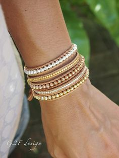 5 times Wrap Bracelet. A mixture of plated metals are combined to make this stylish and versatile wrap bracelet. Gold, silver and pink gold elements