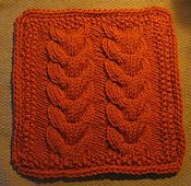 "Ravelry: Reagan's Horseshoe Cable Afghan Dishcloth 9"" Sq pattern by Margaret MacInnis"
