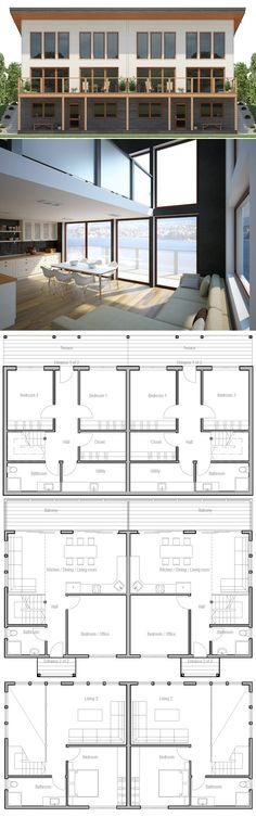 Duplex Home Plan Town House Floor Plan, Duplex House Plans, Duplex Design, House Design, Build My Own House, Modern Bungalow, House Blueprints, Prefab Homes, Planer