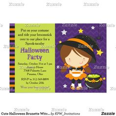 Cute Halloween Brunette Witch Party