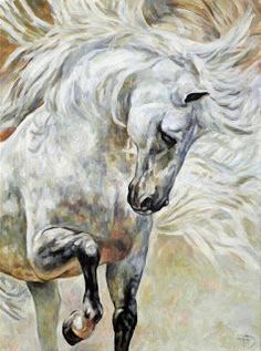 Stunning horse painting! The Spanish Step ~ Jana Fox & Oleg Dyck [J&O Art Studio Cologne]