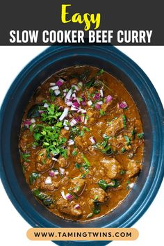 This Slow Cooker Beef Curry is a simple, prepare ahead midweek meal. A tasty 'fakeaway' curry, the slow cooked beef pieces are cooked in a tomato sauce. This crock pot beef stew style curry is also easily adaptable to the Slimming World or Weight Watchers plan as it's light, healthy and low fat. #crockpotrecipe #slowcookerrecipe #beefcurry #curryrecipe #tamingtwins Slow Cooker Recipes, Meat Recipes, Indian Food Recipes, Crockpot Recipes, Slow Cooker Beef Curry, Slow Cooked Beef, Family Recipes, Family Meals, Meat Dish